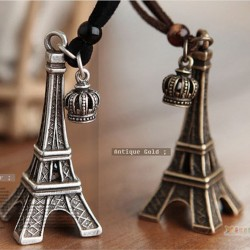 Retro Leather Strap Imperial Chain Crown Eiffel Tower Long Necklaces & Pendants For Women
