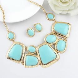 New Fashion Blue Imitation Gemstone Chocker Necklace Stud Earring Charm Bracelet Set