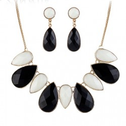 Black & White Water Drop Statement Necklace With Drop Earrings