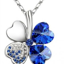 Hot Sale Crystal Happiness Clovers Pendant Necklace For Girls