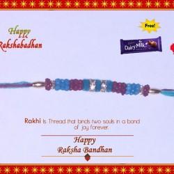 Fancy Colorefull 2 Ring Diamond Rakhi with FREE Roli, Chawal and Dairy Milk