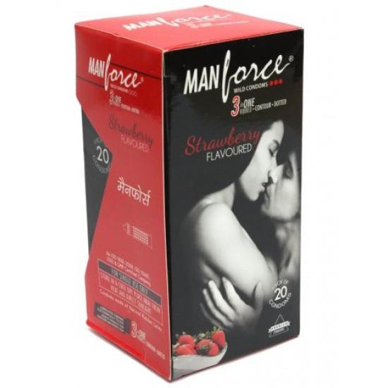 Manforce Strawberry Flavor Condoms 20 pcs Pack
