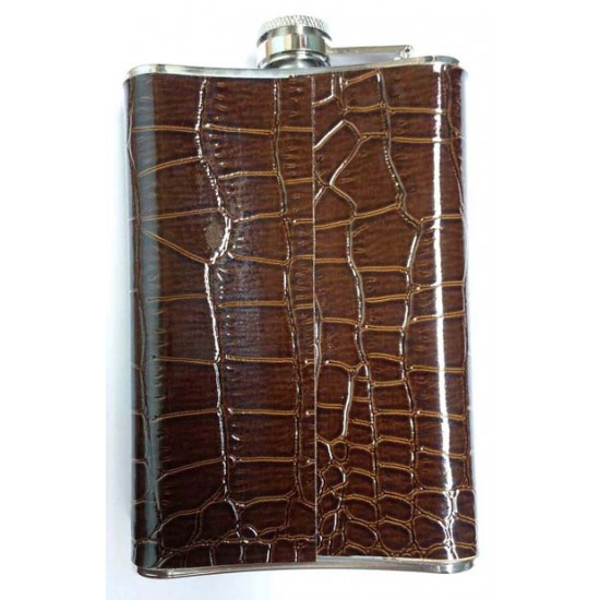 Hip Flask Leather cover Lightweight Stainless Steel 9oz (266 ml)