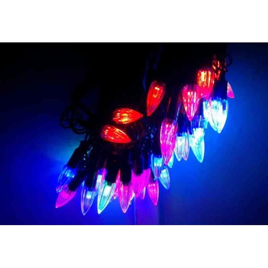 Diwali Home Decoration Multicolor Crystal Shape RGB LED light bulbs (55 feet Length)