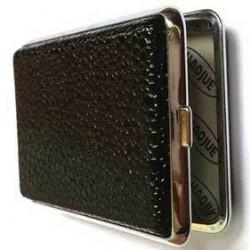 Cigarette Case Metal Leather Holder