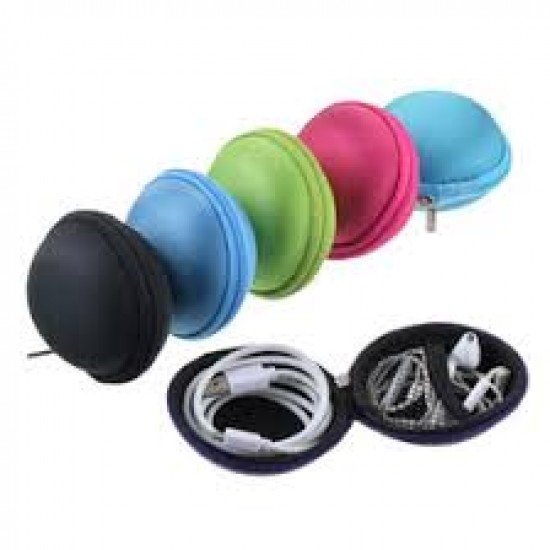 USB Cable Earphone  Portable Carrying Case (Round)