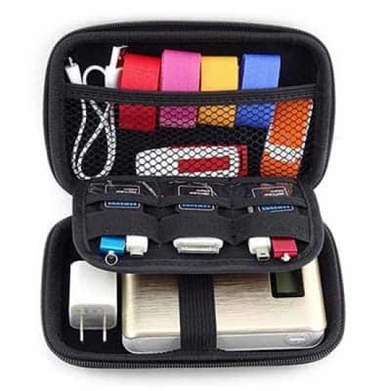 USB Cable Earphone Carrying Hard Case