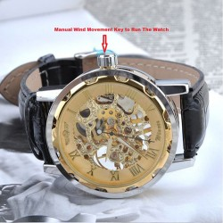 New Mechanical Skeleton Dial Party Wear Watch For Men with Black Leather Belt