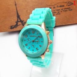 Geneva Casual Silicone Belt Women Unisex Dress Wristwatch (Mint Green)