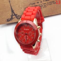 Geneva Casual Silicone Belt Women Unisex Dress Wristwatch (Red)