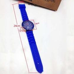 Geneva Casual Silicone Belt Women Unisex Dress Wristwatch (Blue)