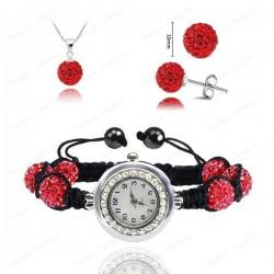Disco Ball Crystal Shamballa Jewelry Set Pendant+Bracelet Watch+Earring (Red)