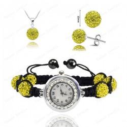 Disco Ball Crystal Shamballa Jewelry Set Pendant+Bracelet Watch+Earring (Yellow)