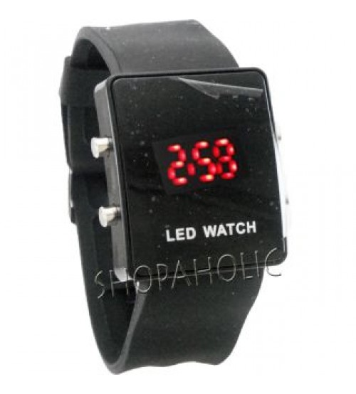 New Trendy Silicone LED Watch  -Black